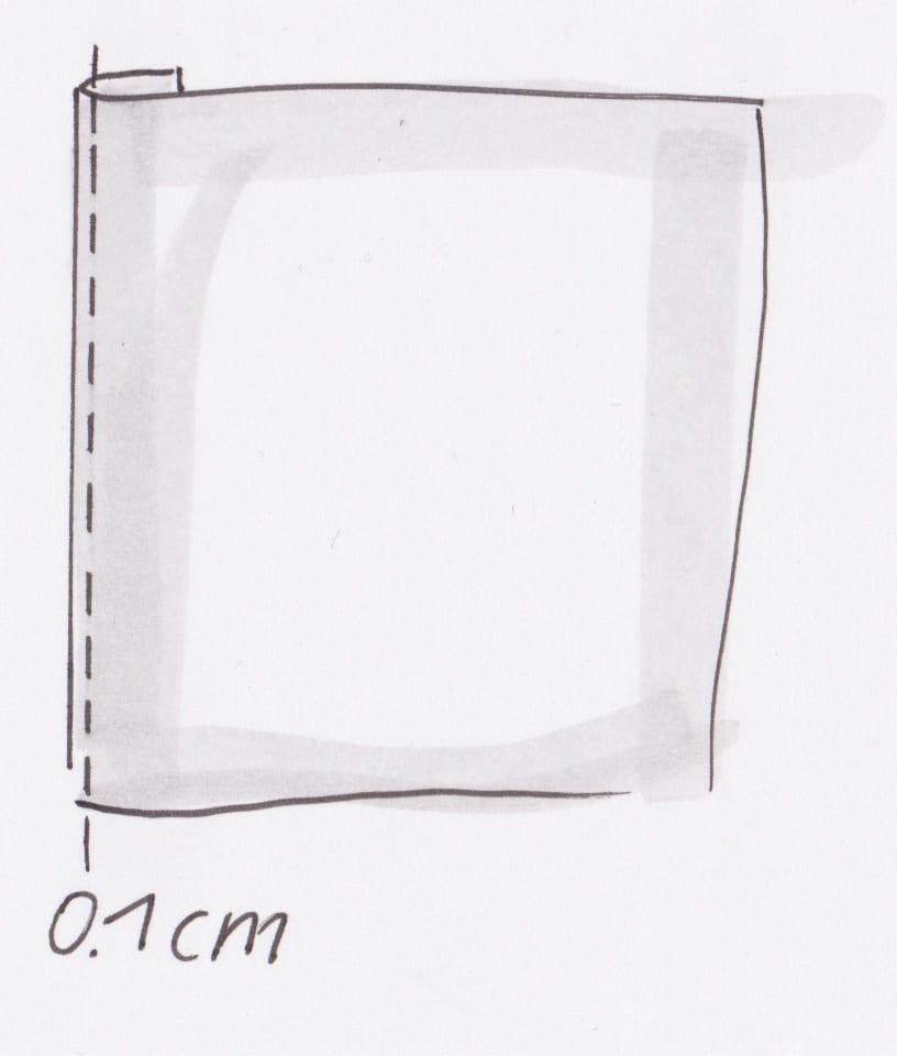 zeichnerische Darstellung von knappkantig Nähen
