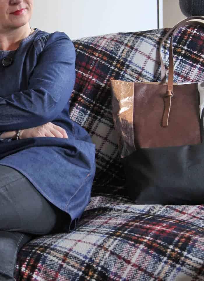 Selbstgenähter Shopper und Jeansbluse nach Kim_B